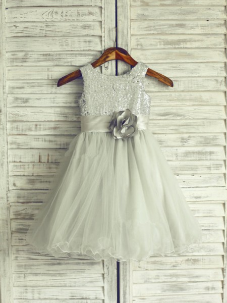 A-Line/Princess Sleeveless Scoop Organza Knee-Length Hand-Made Flower Flower Girl Dresses