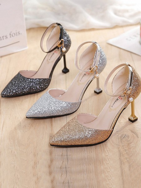 Stiletto Heel Closed Toe Sparkling Glitter Women's High Heels