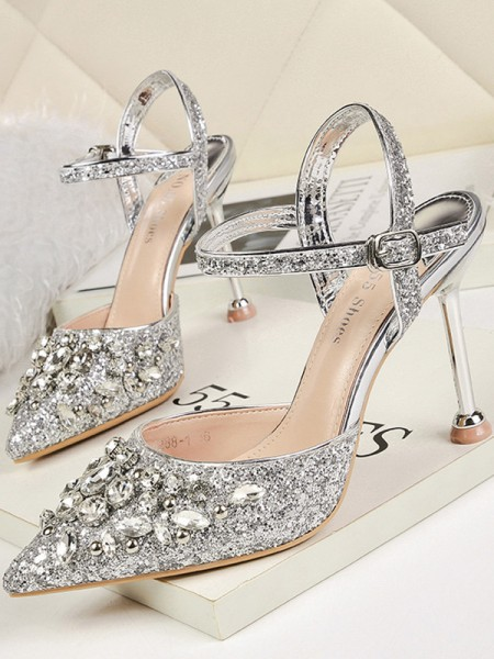 Ladies's Rhinestone Stiletto Heel Closed Toe Sandals