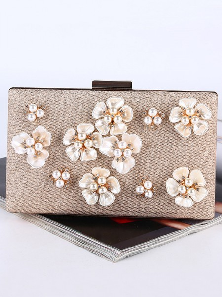 Pearl Wedding/Party Purse With 3D Flowers