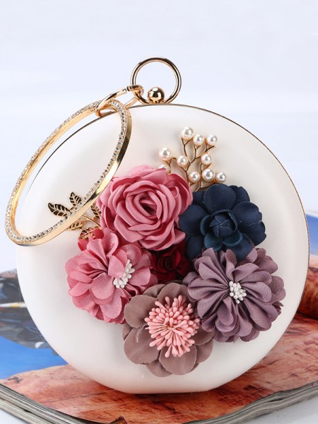 Round PU Evening/Party Handbags With 3D Flowers