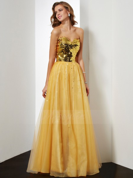 Ball Gown Sleeveless Sequin Organza Sweetheart Floor-Length Dresses