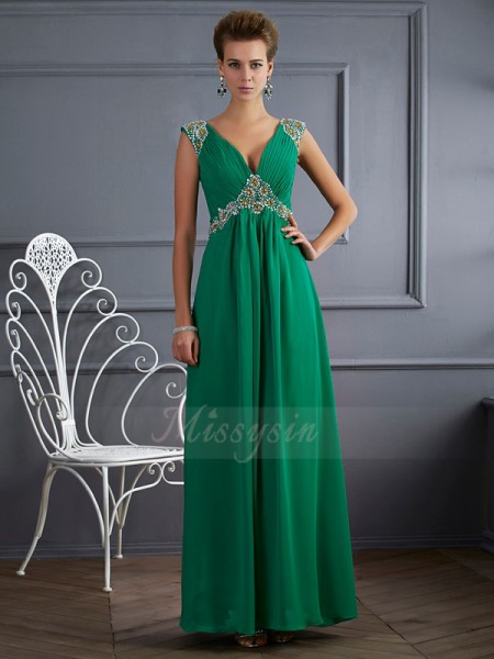 A-Line/Princess Short Sleeves Beading Chiffon V-neck Ankle-Length Dresses