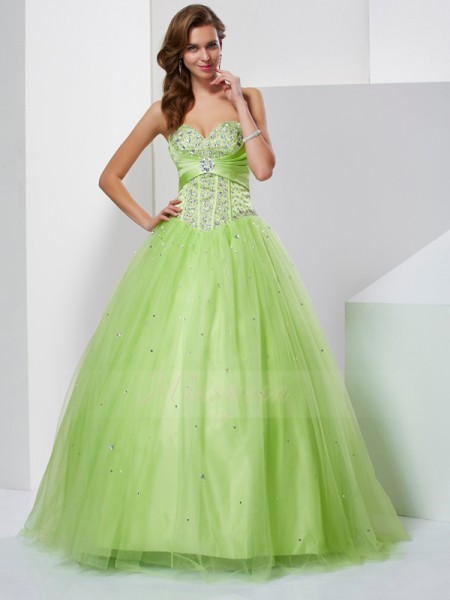 Ball Gown Sleeveless Beading Tulle Sweetheart Floor-Length Dresses