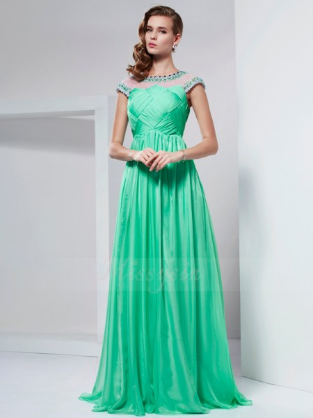 A-Line/Princess Short Sleeves Ruffles,Beading Chiffon High Neck Floor-Length Dresses