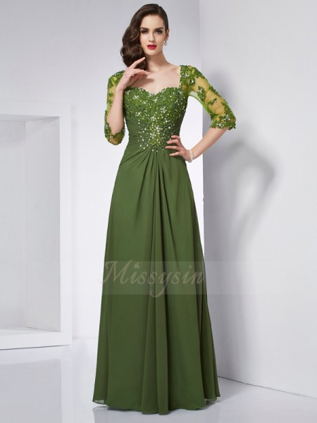A-Line/Princess 3/4 Sleeves Beading,Applique Chiffon Sweetheart Floor-Length Dresses