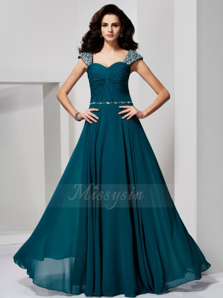A-Line/Princess Sleeveless Beading Chiffon Sweetheart,Off-the-Shoulder Floor-Length Dresses