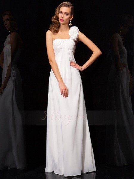 A-Line/Princess Sleeveless Pleats,Hand-Made Flower Chiffon One-Shoulder Floor-Length Dresses