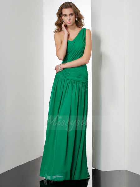 A-Line/Princess Sleeveless Pleats Chiffon One-Shoulder Floor-Length Dresses