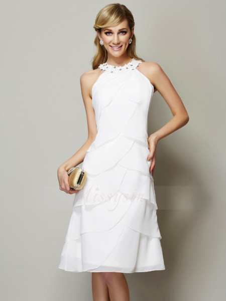 Sheath/Column Sleeveless Beading,Applique Chiffon Bateau Knee-Length Dresses