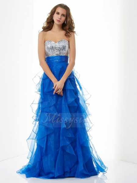 A-Line/Princess Sleeveless Paillette Satin,Tulle Sweetheart Floor-Length Dresses