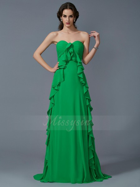 A-Line/Princess Sleeveless Ruffles Chiffon Sweetheart Sweep/Brush Train Dresses