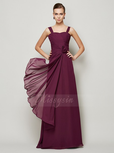 A-Line/Princess Sleeveless Hand-Made Flower Chiffon Straps Floor-Length Dresses