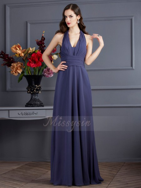 A-Line/Princess Sleeveless Pleats Chiffon Halter Floor-Length Dresses