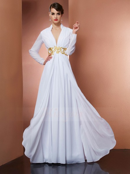 A-Line/Princess Long Sleeves Chiffon V-neck Floor-Length Dresses