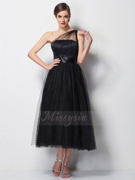 A-Line/Princess Sleeveless Pleats Elastic Woven Satin,Net One-Shoulder Tea-Length Bridesmaid Dresses