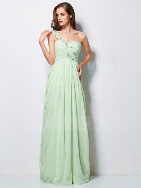 A-Line/Princess Sleeveless Beading,Applique Chiffon One-Shoulder Floor-Length Dresses