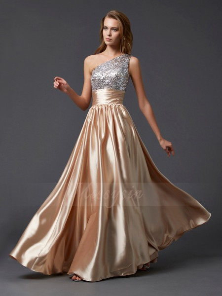 A-Line/Princess Sleeveless Paillette Elastic Woven Satin One-Shoulder Floor-Length Dresses
