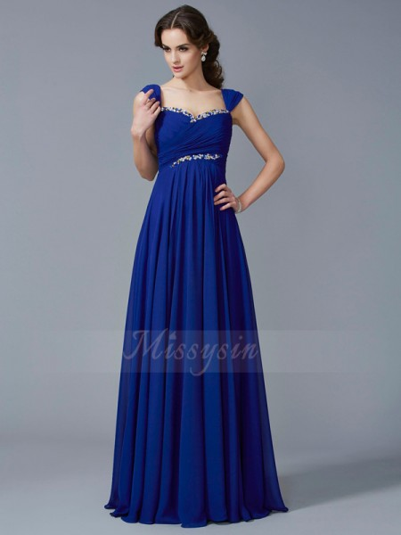 A-Line/Princess Sleeveless Beading Chiffon Sweetheart Floor-Length Dresses