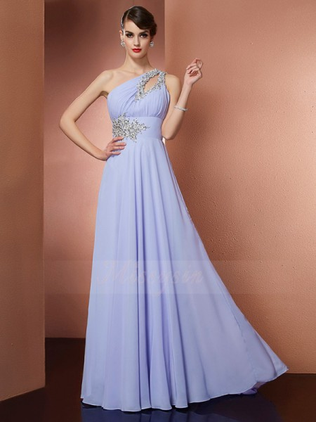 A-Line/Princess Sleeveless Beading,Applique Chiffon One-Shoulder Sweep/Brush Train Dresses