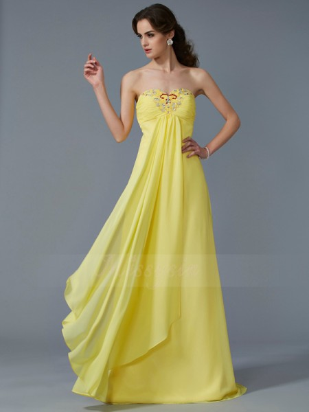 A-Line/Princess Sleeveless Beading Chiffon Sweetheart Sweep/Brush Train Dresses