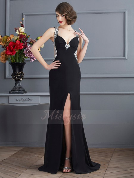 Sheath/Column Sleeveless Beading Chiffon Straps Sweep/Brush Train Dresses