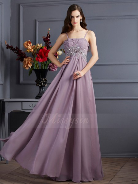 Empire Sleeveless Beading Chiffon Spaghetti Straps Floor-Length Dresses