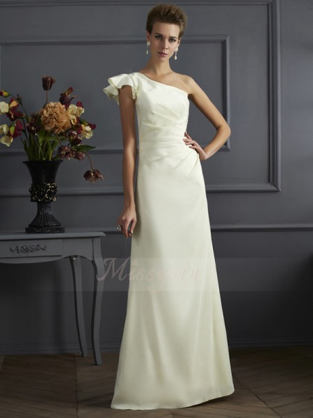 Sheath/Column Sleeveless Pleats Elastic Woven Satin One-Shoulder Floor-Length Bridesmaid Dresses