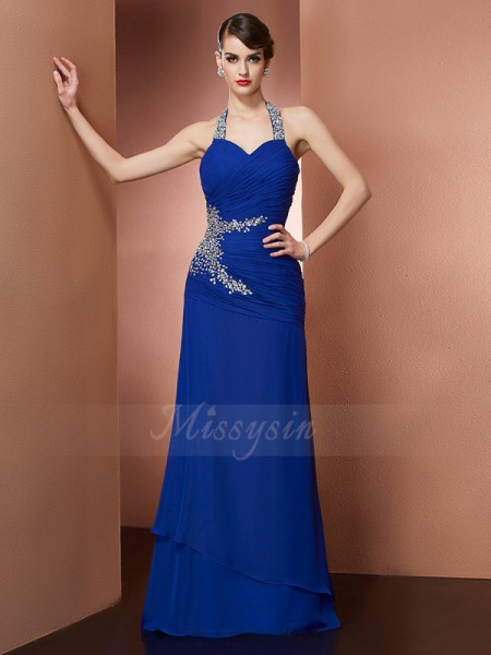 Sheath/Column Sleeveless Beading Chiffon Halter Floor-Length Dresses