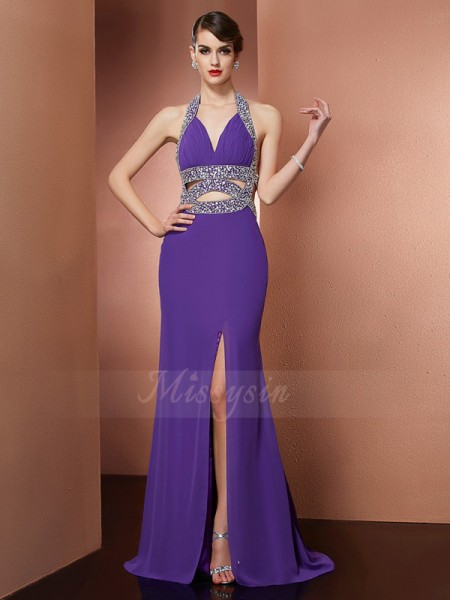 A-Line/Princess Sleeveless Beading Chiffon Halter Sweep/Brush Train Dresses