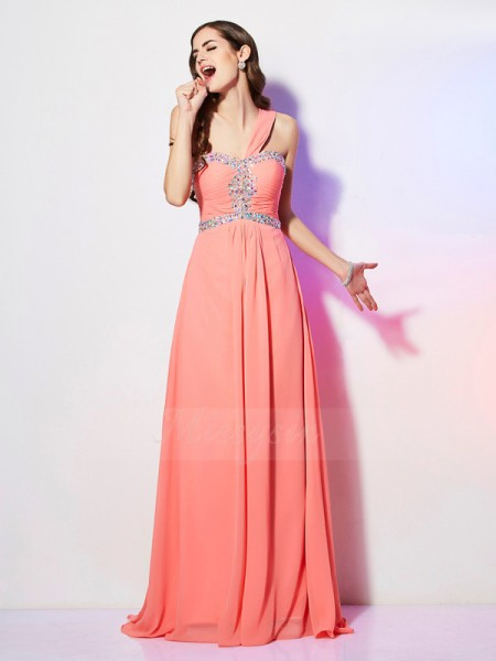 A-Line/Princess Sleeveless Beading Chiffon One-Shoulder Sweep/Brush Train Dresses