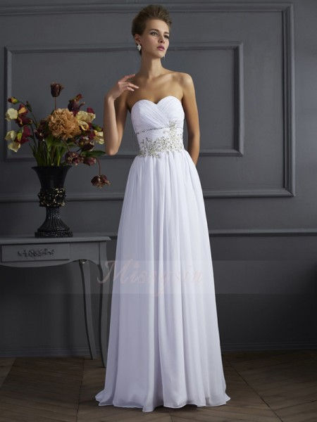 A-Line/Princess Sleeveless Beading,Applique Chiffon Sweetheart Sweep/Brush Train Dresses