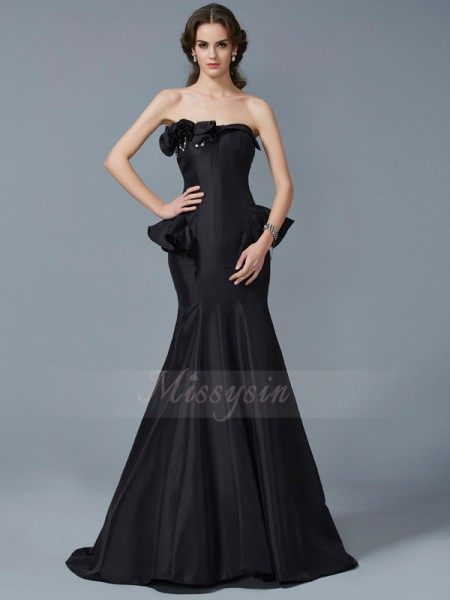 Trumpet/Mermaid Sleeveless Ruffles Taffeta Strapless Sweep/Brush Train Dresses