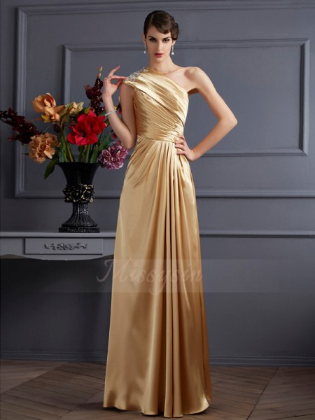 A-Line/Princess Sleeveless Beading Elastic Woven Satin One-Shoulder Floor-Length Dresses