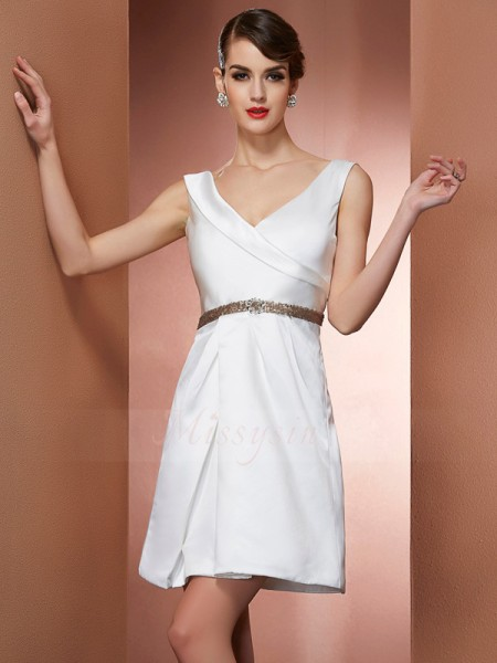 A-Line/Princess Sleeveless Beading Satin Straps Short/Mini Dresses