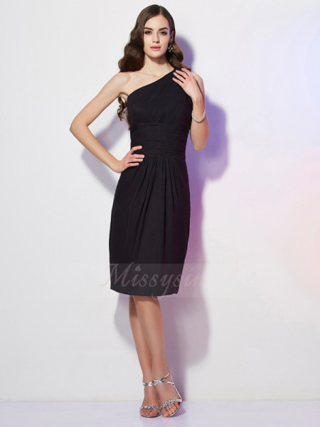 Sheath/Column Sleeveless Beading Chiffon One-Shoulder Knee-Length Dresses