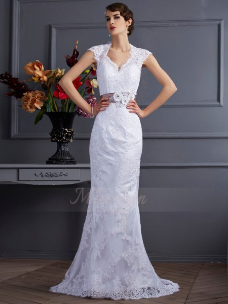 Trumpet/Mermaid Sleeveless Applique,Lace Satin Other Sweep/Brush Train Wedding Dresses