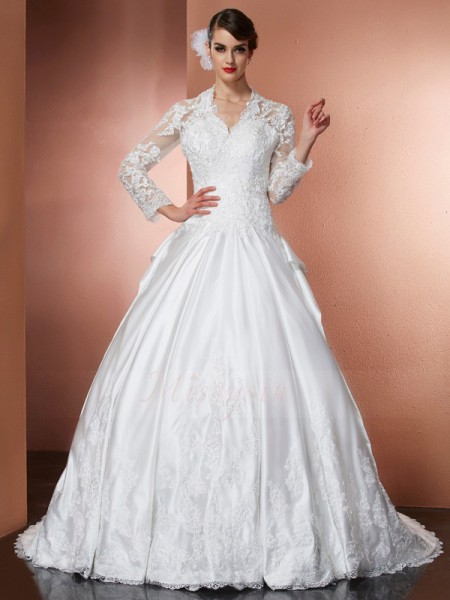 A-Line/Princess Long Sleeves Applique Satin V-neck Cathedral Train Wedding Dresses
