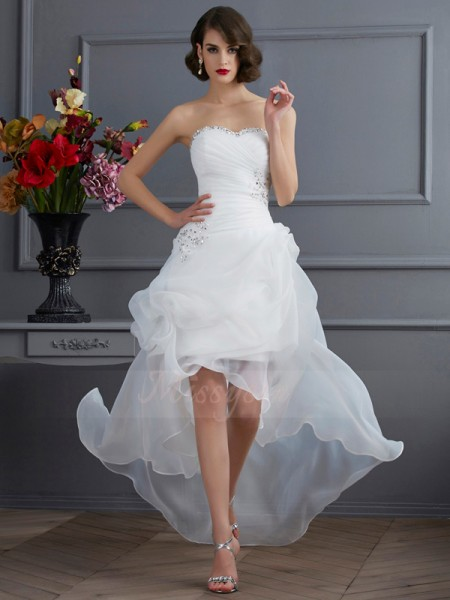A-Line/Princess Sleeveless Beading,Applique Organza Sweetheart Asymmetrical Wedding Dresses