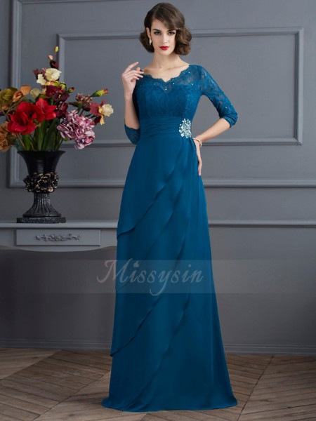 A-Line/Princess 3/4 Sleeves Chiffon V-neck Floor-Length Dresses