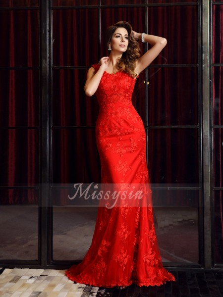 Trumpet/Mermaid V-neck Lace Applique Sleeveless Sweep/Brush Train Dresses