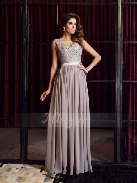A-Line/Princess Straps Chiffon Applique Sleeveless Floor-Length Dresses