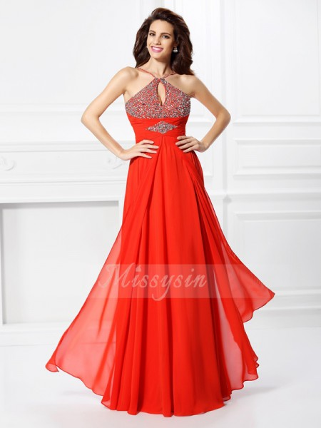 A-Line/Princess Other Chiffon Beading Sleeveless Floor-Length Dresses