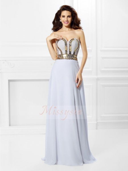 Empire Sweetheart Chiffon Pleats Sleeveless Floor-Length Dresses