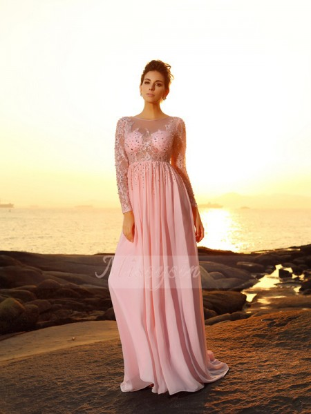 A-Line/Princess Bateau Chiffon Beading Long Sleeves Sweep/Brush Train Dresses
