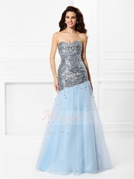Trumpet/Mermaid Sweetheart Satin Sequin Sleeveless Floor-Length Dresses