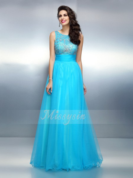 A-Line/Princess Bateau Elastic Woven Satin Beading Sleeveless Floor-Length Dresses
