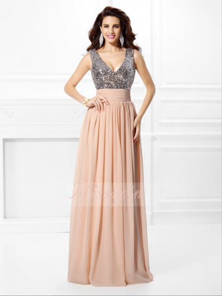 A-Line/Princess V-neck Chiffon Paillette Sleeveless Floor-Length Dresses