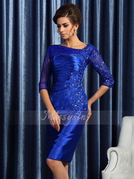 Sheath/Column Other Elastic Woven Satin Beading,Applique 3/4 Sleeves Knee-Length Mother of the Bride Dresses