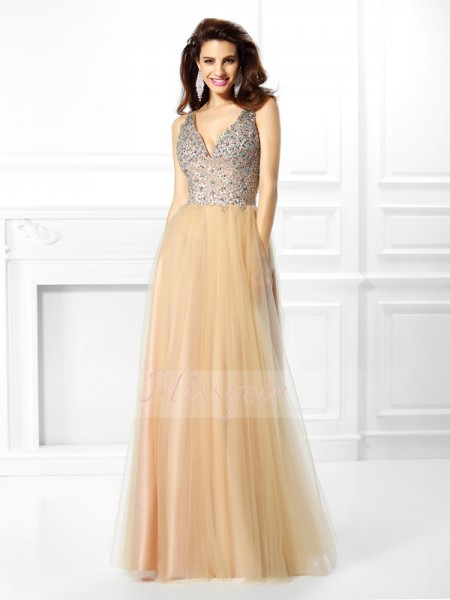 Ball Gown V-neck Satin Beading,Sequin Sleeveless Floor-Length Dresses